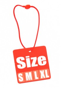 Size Tag isolated on white
