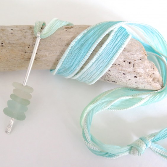 Beach glass silk wrap pendant from Spindrift Collections