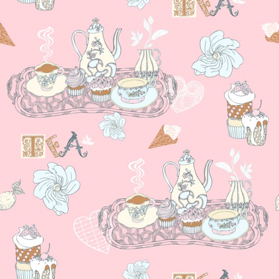 Vintage decorative background, tea time vector seamless pattern,