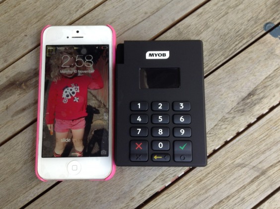 My iPhone next to the MYOB PayDirect Reader